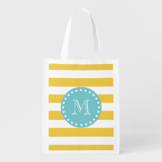 Yellow White Stripes Pattern, Your Monogram Grocery Bag