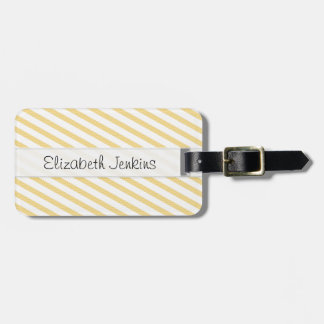 Yellow White Stripes Stitched Vellum Tags For Luggage