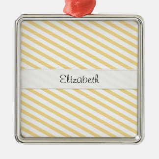 Yellow White Stripes Stitched Vellum Metal Ornament