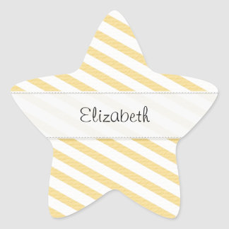 Yellow White Stripes Stitched Vellum Star Sticker