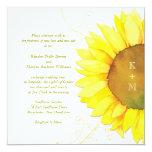 Yellow + White Sunflower Themed Monograms Wedding Card