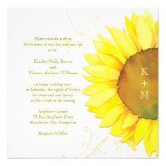 Yellow + White Sunflower Themed Monograms Wedding Custom Invite
