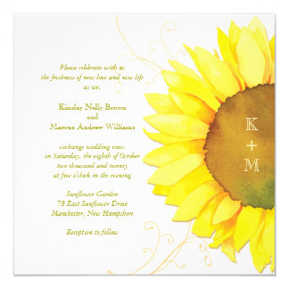 "Yellow + White Sunflower Themed Monograms Wedding 5.25"" Square Invitation Card"