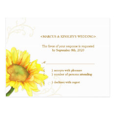 Yellow + White Sunflower Wedding Reply (4.25x5.6) Postcards