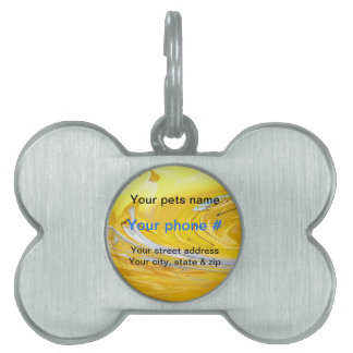 Yellow white swirls Pet Tag