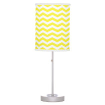 Yellow White Thin Chevron Zig-Zag Pattern Desk Lamp