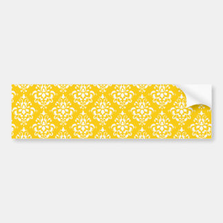 YELLOW WHITE VINTAGE DAMASK PATTERN 1 CAR BUMPER STICKER