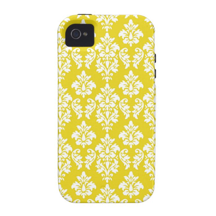 Yellow White Vintage Damask Pattern Case-Mate iPhone 4 Case