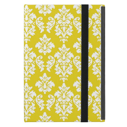 Yellow White Vintage Damask Pattern Cases For iPad Mini