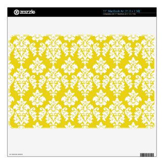 Yellow White Vintage Damask Pattern Skins For MacBook Air