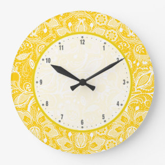 Yellow & White Vintage Floral Lace Large Clock