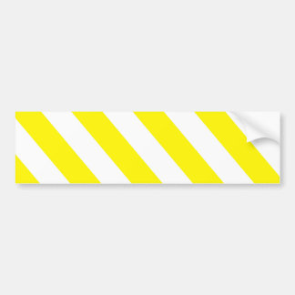 Yellow White Warning Stripes Bumper Sticker