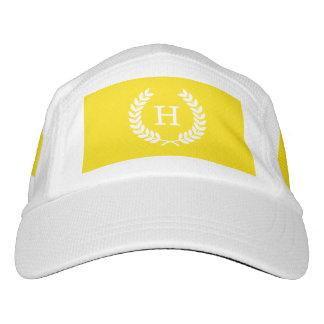 Yellow White Wheat Laurel Wreath Initial Monogram Headsweats Hat