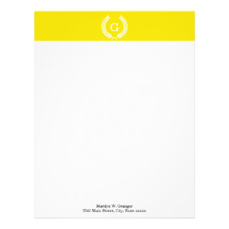Yellow White Wheat Laurel Wreath Initial Monogram Letterhead Design