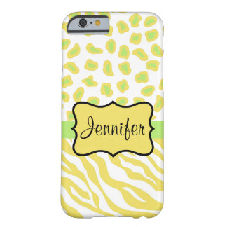 Yellow White Zebra Leropard Skin Name Personallzed Barely There iPhone 6 Case
