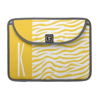Yellow & White Zebra Stripes Animal Print Sleeve For MacBook Pro
