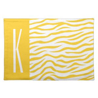 Yellow & White Zebra Stripes Animal Print Placemat