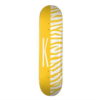 Yellow & White Zebra Stripes Animal Print Skateboard Decks