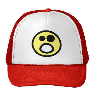 Yellow Whoa Open Mouth Smiley Face Trucker Hat