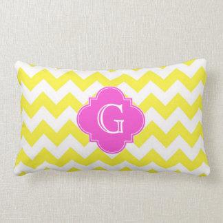 Yellow Wht Chevron Hot Pink Quatrefoil Monoram Throw Pillow