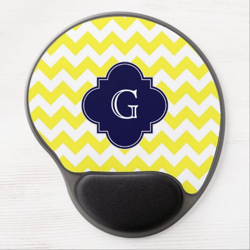 Yellow Wht Chevron Navy Blue Quatrefoil Monogram Gel Mousepad