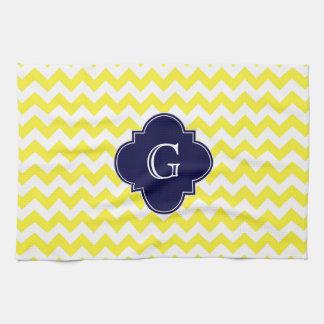 Yellow Wht Chevron Navy Blue Quatrefoil Monogram Hand Towels
