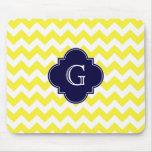 Yellow Wht Chevron Navy Blue Quatrefoil Monogram Mouse Pad