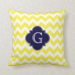 Yellow Wht Chevron Navy Blue Quatrefoil Monogram Pillows