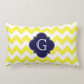 Yellow Wht Chevron Navy Blue Quatrefoil Monogram Pillow