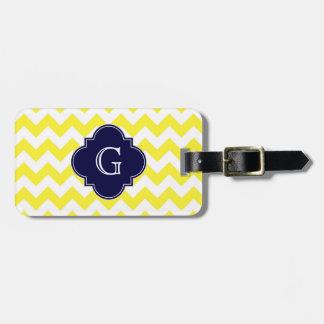Yellow Wht Chevron Navy Blue Quatrefoil Monogram Tag For Luggage