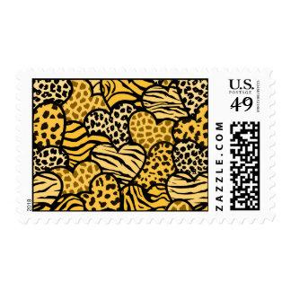 Yellow Wild animals hearts Design postage