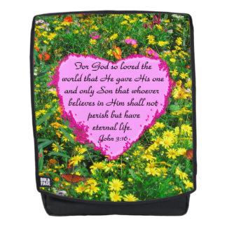 YELLOW WILD FLOWER JOHN 3:16 BACKPACK