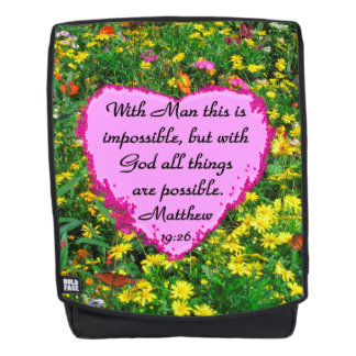 YELLOW WILD FLOWER MATTHEW 19:26 BACKPACK