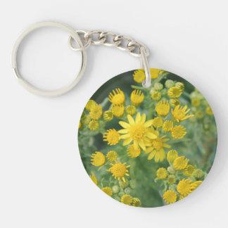Yellow Wild Flowers. Acrylic Key Chains