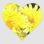 Yellow Wild Flowers Heart Heart Sticker