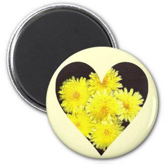 Yellow Wild Flowers Heart Magnet