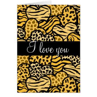 Yellow Wild hearts i Love you Greeting Card