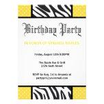 Yellow Wild Time Zebra Birthday Party Invitation