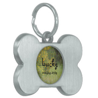 Yellow wildflower and grass personalizable pet tag