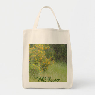 Yellow wildflower and grass personalizable tote bag