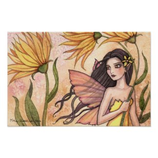 Yellow Wildflower Fairy Native American Poster