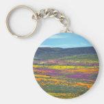 Yellow Wildflower field flowers Basic Round Button Keychain