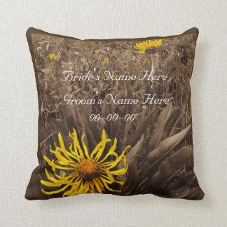 Yellow wildflower sepia wedding personalize names throw pillow