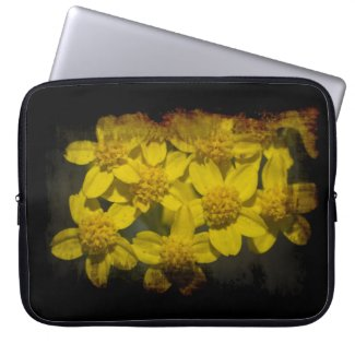 Yellow Wildflowers Black Edge Laptop Computer Sleeves