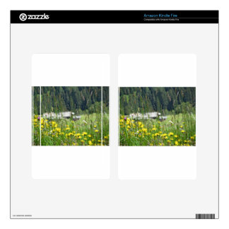 Yellow wildflowers on the meadow decals for kindle fire