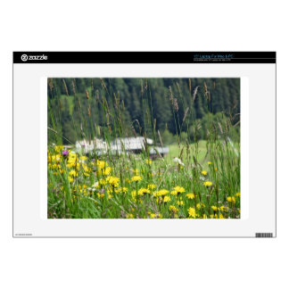 Yellow wildflowers on the meadow decals for laptops