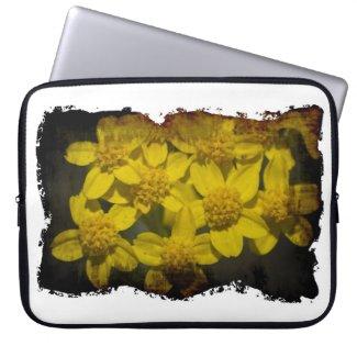 Yellow Wildflowers White Edge Laptop Computer Sleeve