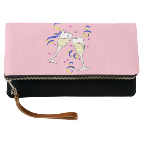 yellow wine on pink clutch