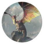 Yellow Winged Dragon Melamine Plate