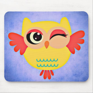 Yellow Winking Owl Mouse Pad